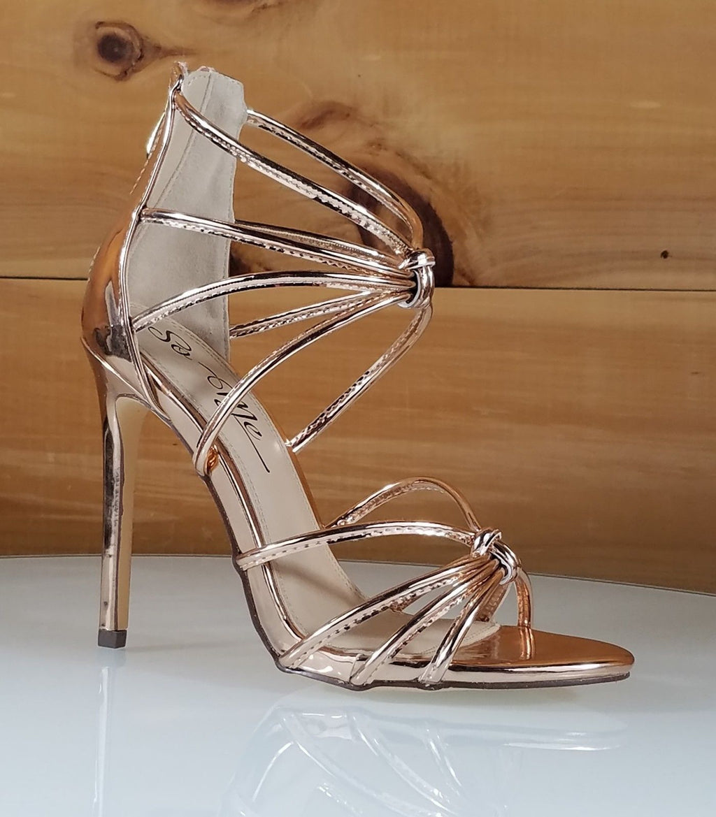 So Me Janal Rose Gold Tube Strap High Heel Sandal Shoe