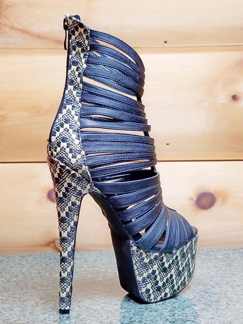 "Dramatics Black Beige Woven Raffita Platform Open Toe Ankle Boot Shoe 7"" Heel"