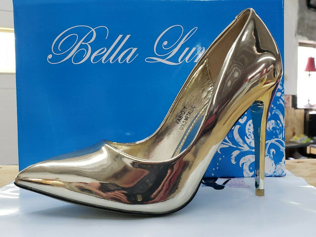 Gold Patent Pump Shoe