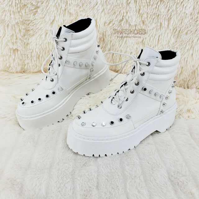 Cyber Punk Silver Cap Stud Combat Sneaker Ankle Boots White 6-11