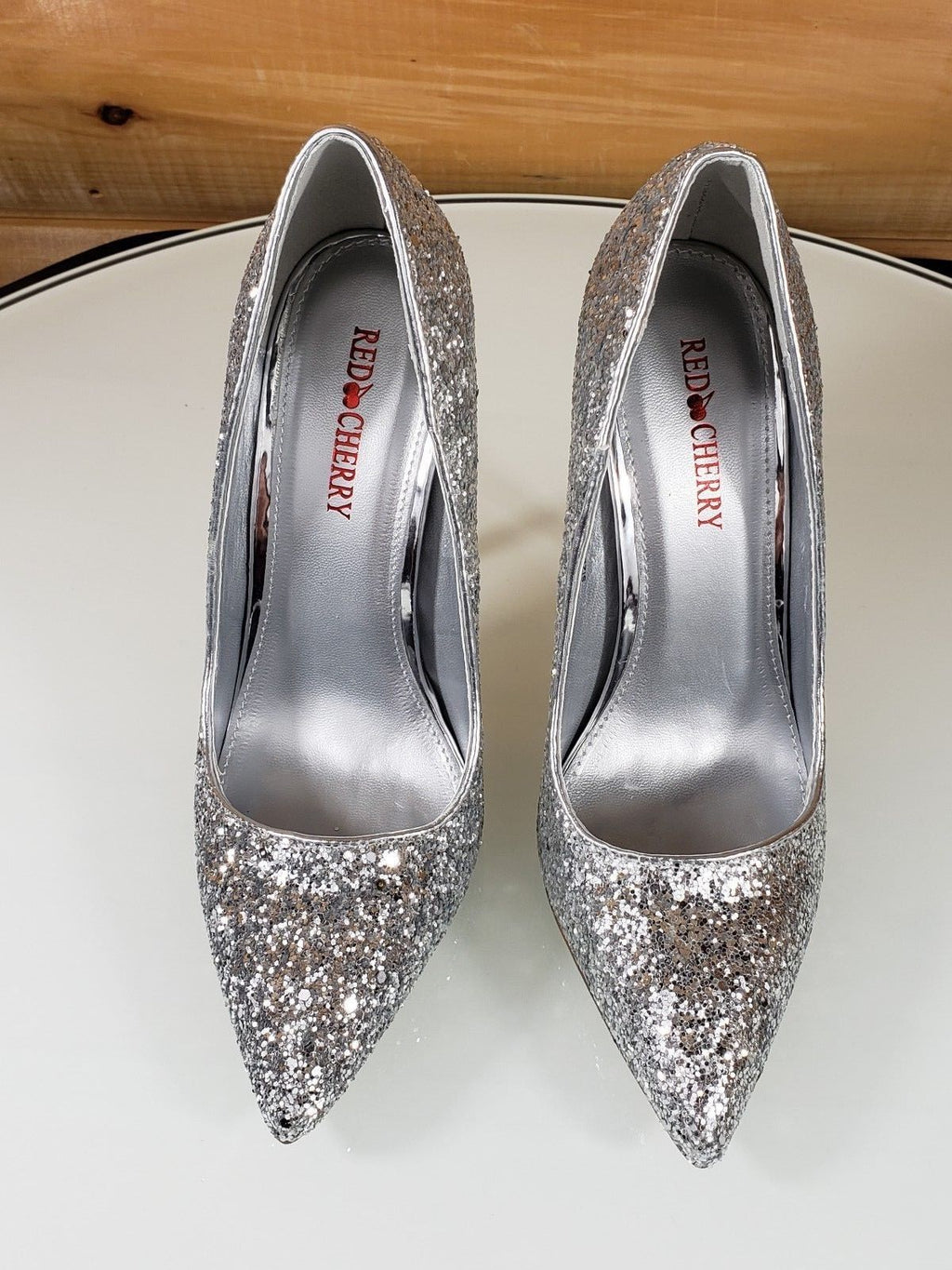 "Red Cherry Silver Glitter Pointy Toe Pump 4.5"" Stiletto High Heel Shoes"