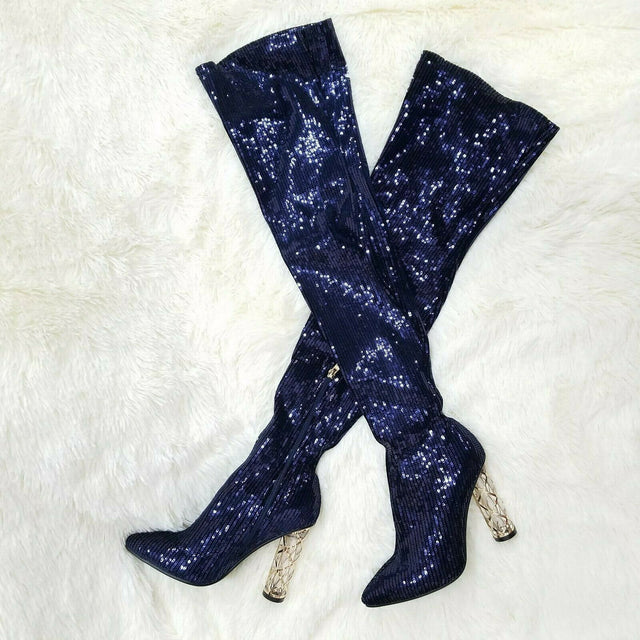 "Chic Reba Blue Sequin 4"" High Heel Thigh Boots Size 6.5-11"