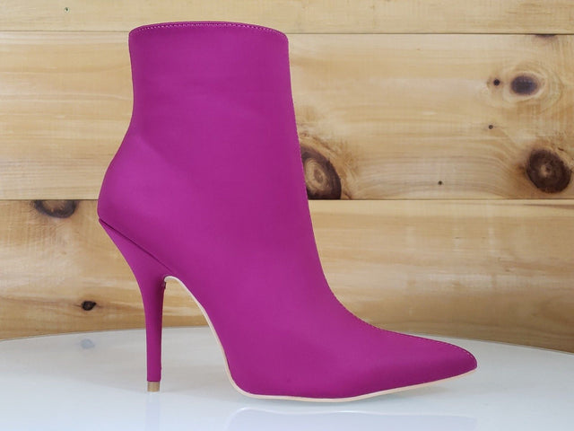 Mac J Mind Blown Pink Fuchsia High Heels Satin Pointy Toe Ankle Boot