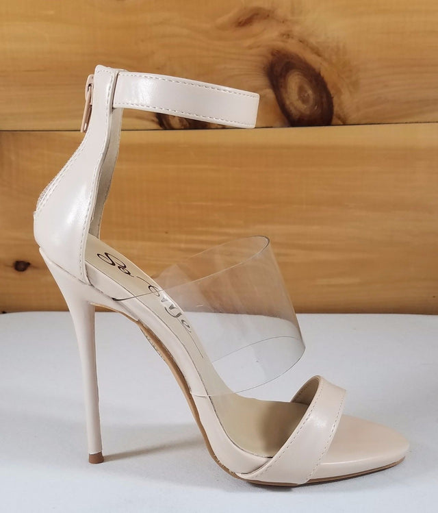 "So Me Victoria Clear Mid Strap 5""  Stiletto High Heels Shoe Nude / Cream"