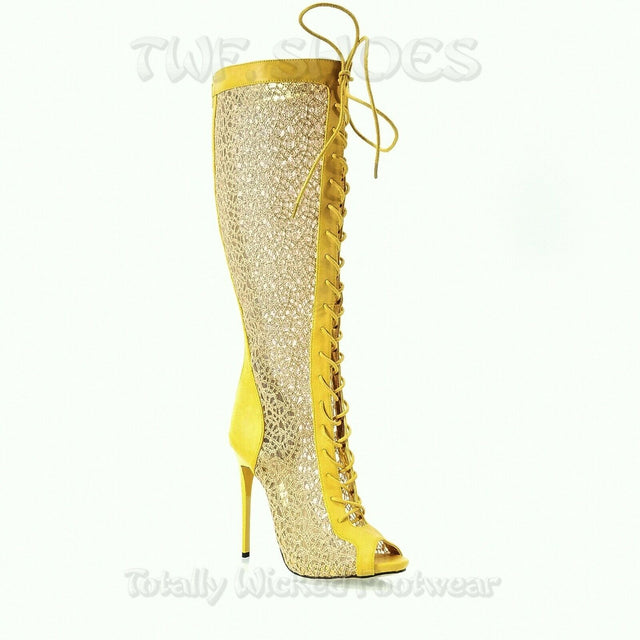 "Malace Golden Yellow Lace Panel Open Toe 4.75""  High Heel Knee Boots 6-11"