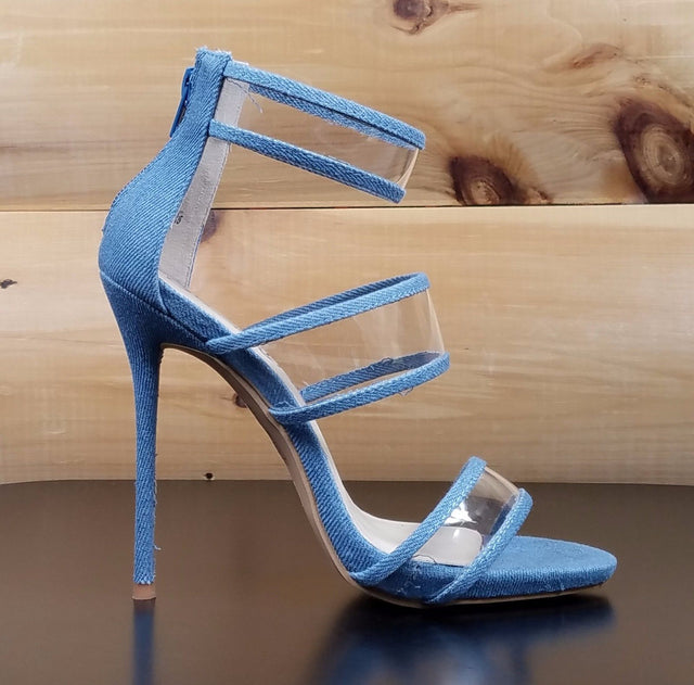 "So Me Gab 3 Strap 5"" High Heel Single Sole Shoe Denim Lucite"