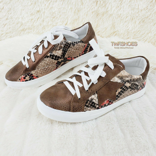 Woman's Brown Snake Fashion Sneakers Coco Rubber Sole 6-10