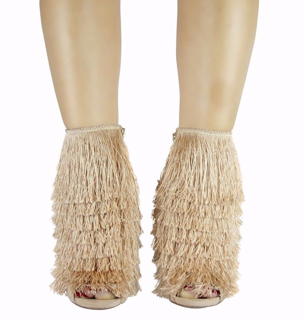 Nelly Bernal B Mambo Champagne Fringe 4.75 Stiletto High Heel Ankle Boots