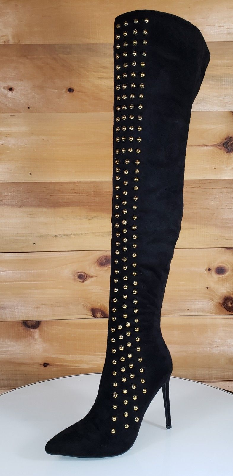 So Me May Black Pointy Toe High Heel OTK Above Knee Boots Gold Stud Stripe