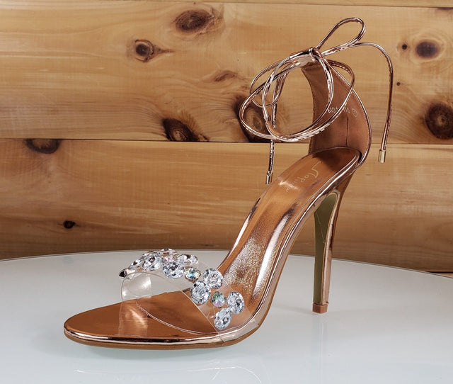 "Top Show Rose Gold Tie Up Crystal Toe Strap 4 "" High Heel Sandal Shoe"
