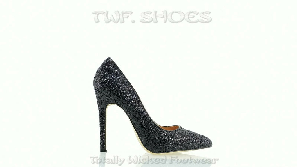 "Monica 100 Black Glitter 4"" High Heel Shoes Pointy Toe Pump 6.5-11"