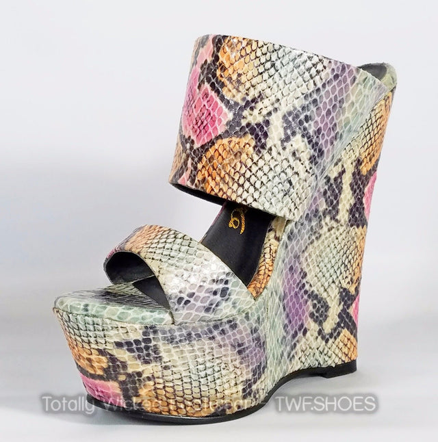 Nelly Bernal Pacs Gray Multi Snake Double Strap Slip On High Heel Wedge