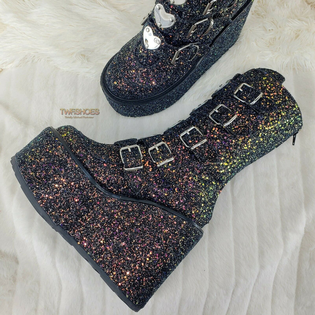 Swing 230G Black Glitter Platform Boots Heart Strap Goth Punk 6-12 Restocked NY - Totally Wicked Footwear