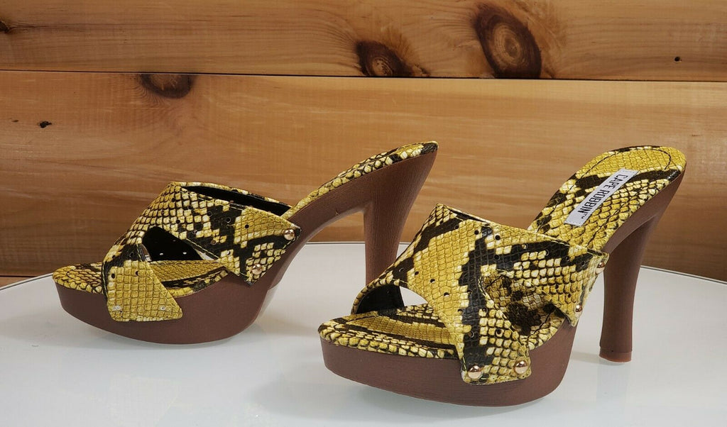 "CR Wild Thing Yellow Snake Slide Faux Wood Slip On Clog 4.5"" High Heel 6 - 11"