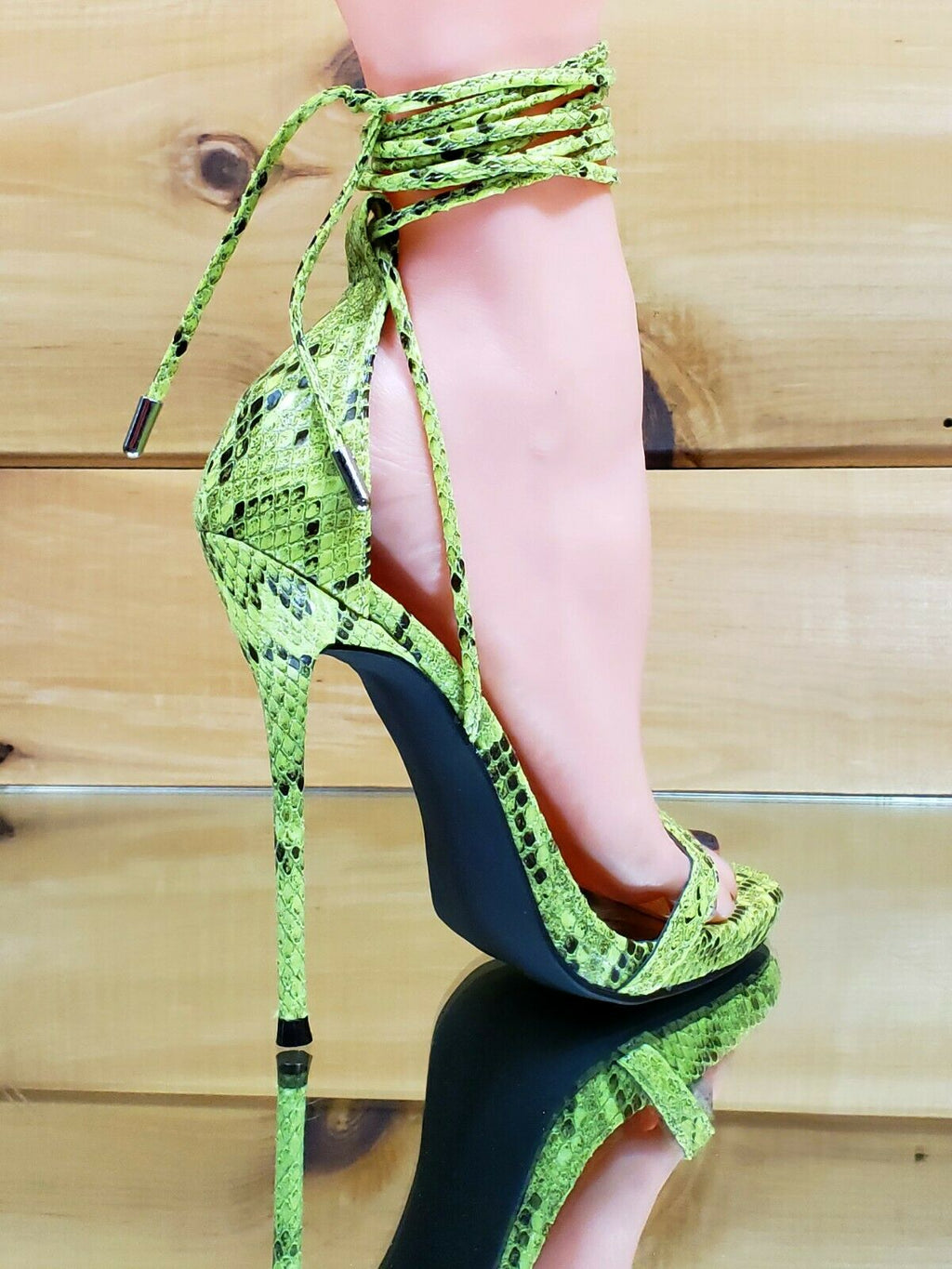 "CR Invader Lime Snake Strappy Ankle Wrap Sandal 5"" High Heel Matching Clutch"