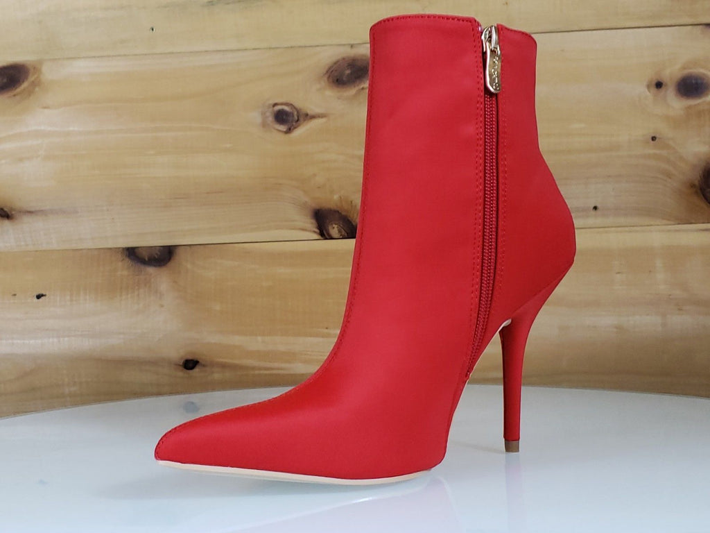 Mac J Mind Blowing Bright Red High Heels Satin Pointy Toe Ankle Boot