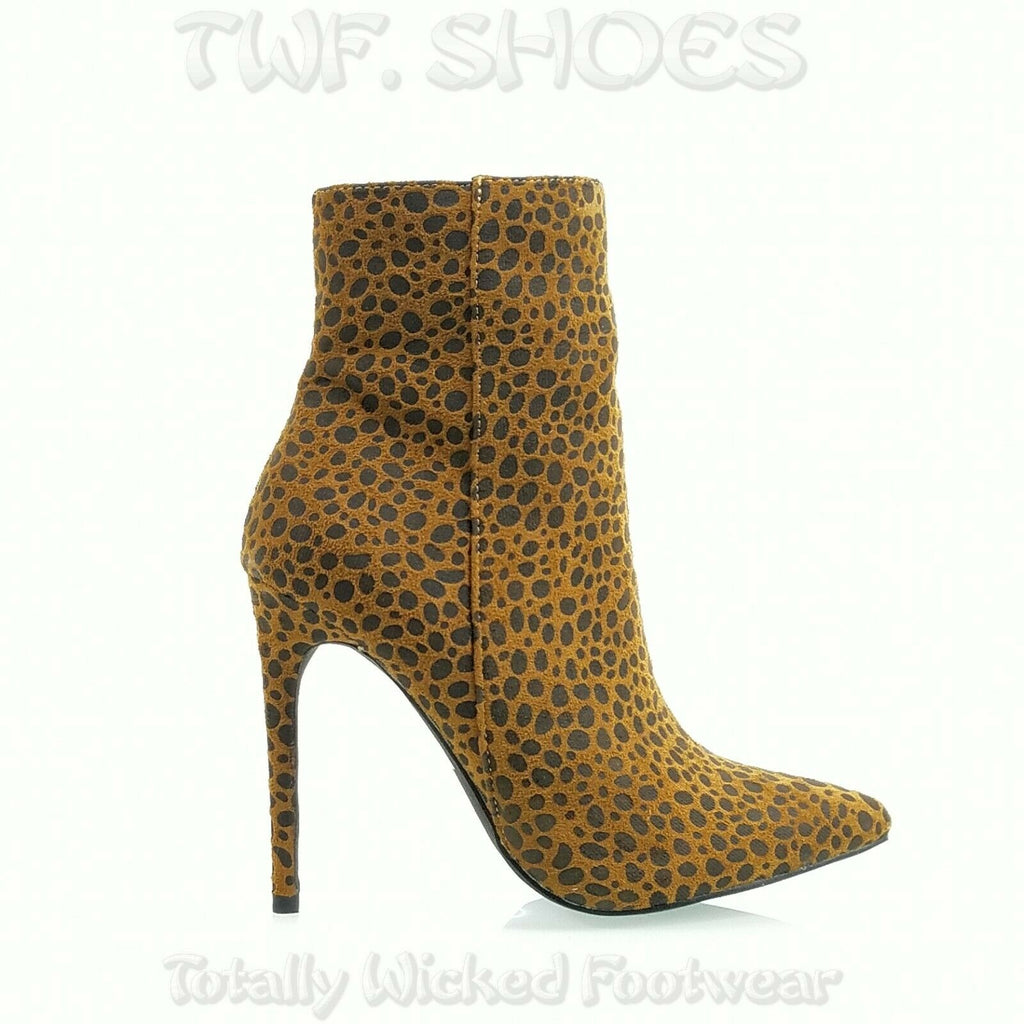 "Amanda Pointy Toe 4.5"" High Heel Cheetah Leopard Print Ankle Boots 7-11"