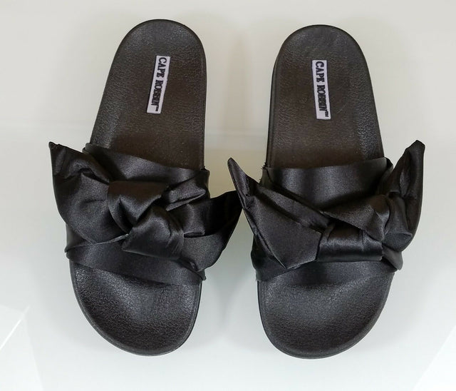 Cape Moria Black Satin Tie Knot Slip-on Flat Sandal Slipper Shoe 5 - 10