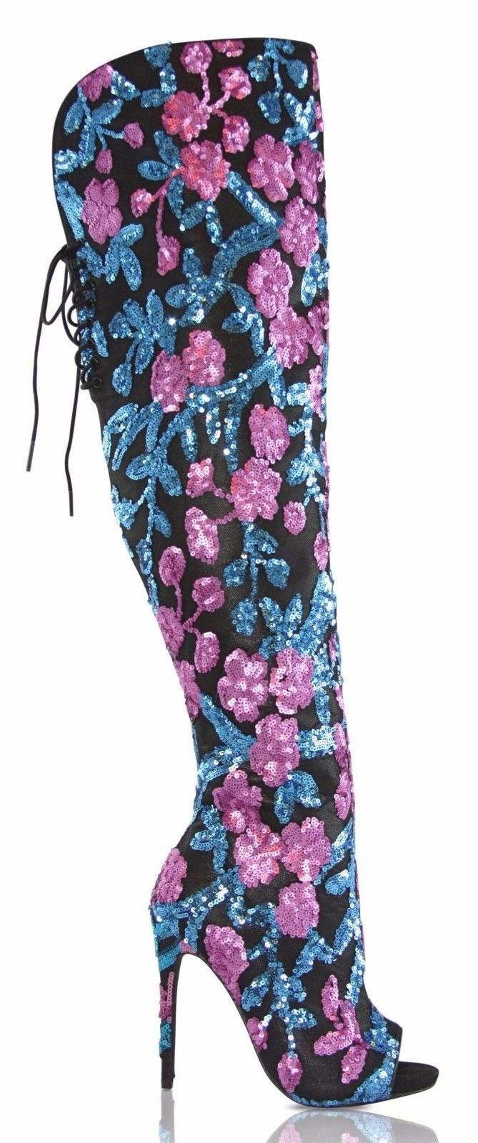 Nelly Bernal Celebrity Teal Pink Sequin Thigh High Open Toe Boot