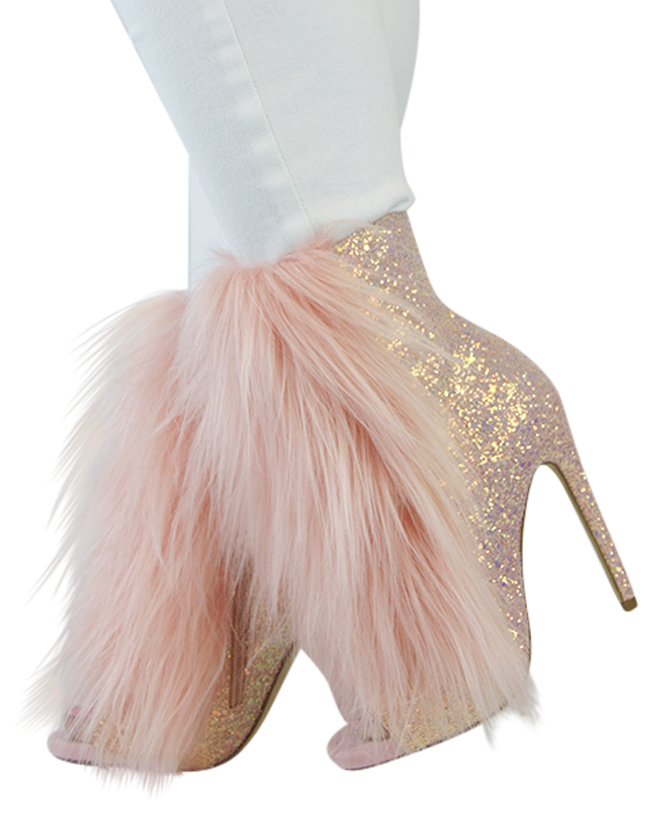 "Nelly B Bestie Pink Blush Glitter Vegan Fur Open Toe 4.5"" High Heel Ankle Boots"