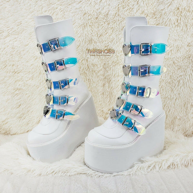 "Cyber Swing 230 White Boot 5.5"" Platform Heart Hologram Strap Design NY Restock - Totally Wicked Footwear"