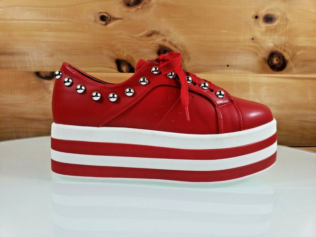 "Harper Red White Ball Stud 2"" Platform Fashion Sneakers 6 - 10"