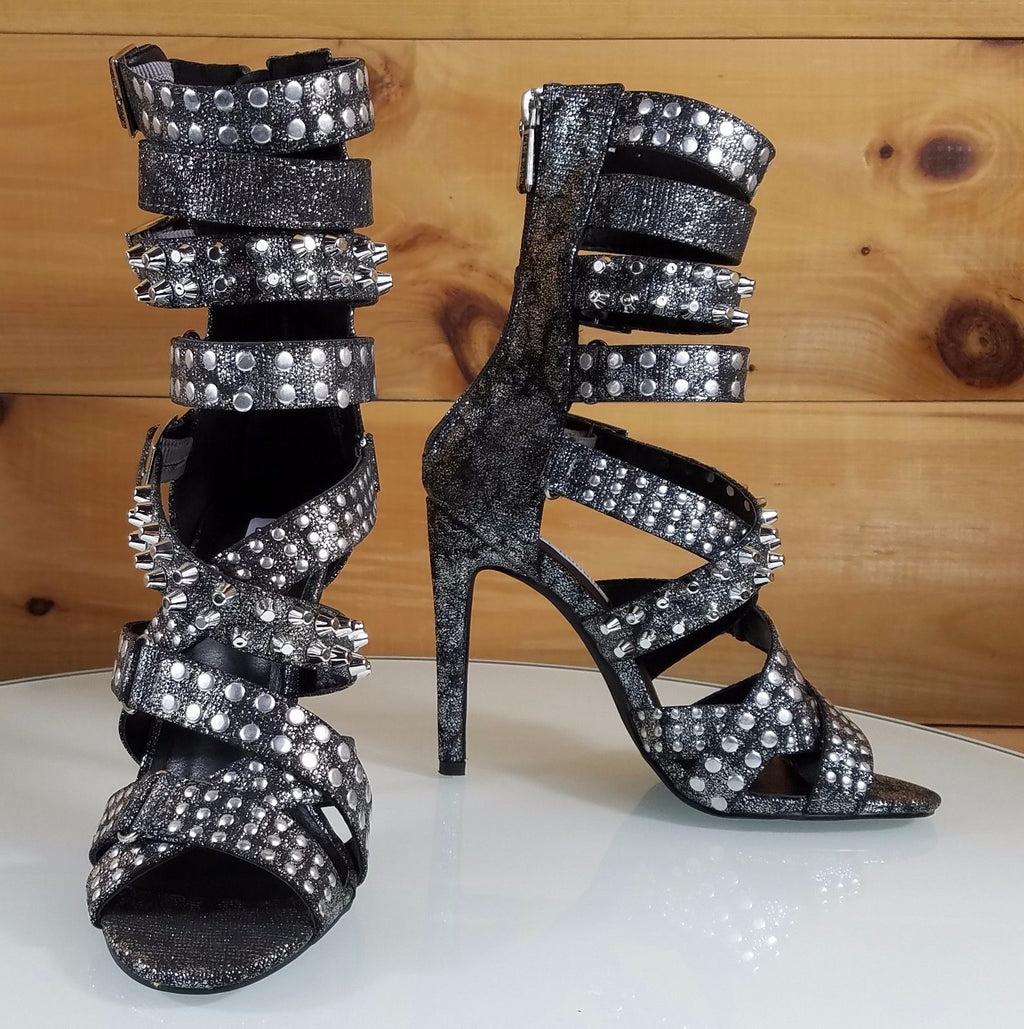 "CR Gun Pewter Suzzy Straps & Silver Stud Design 4.5""  High Heel Shoes Boots"