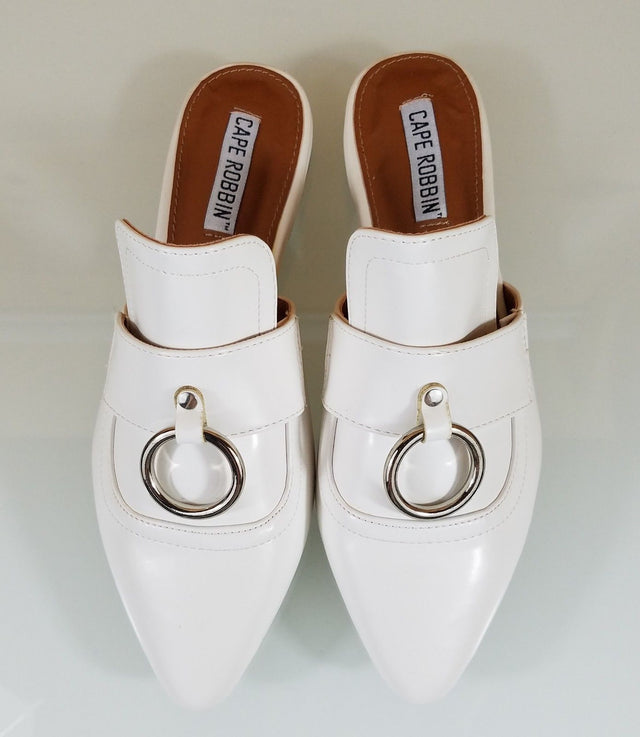 CR Pointy Toe White Flats Mules Clog Bull Ring Shoe Slippers