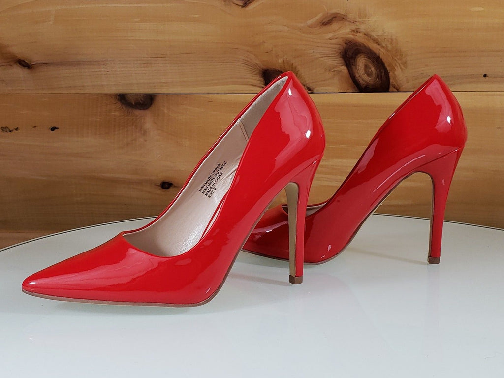 "Red Cherry Gigi Red Patent Pointy Toe Pump Shoe 4"" Stiletto High Heels"
