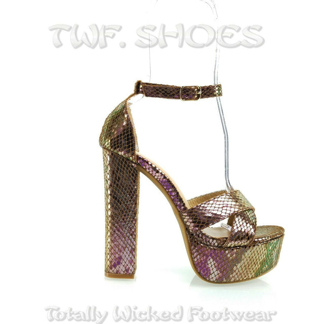 "Vickie Purple Gold Hologram 5.5"" Block Heel 2"" Platform Sandal Shoes 7-11"