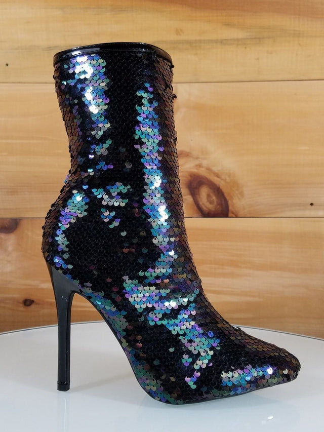 C & C Whiskey Multi Black Sequin Pointy Toe High Heel Ankle Boots
