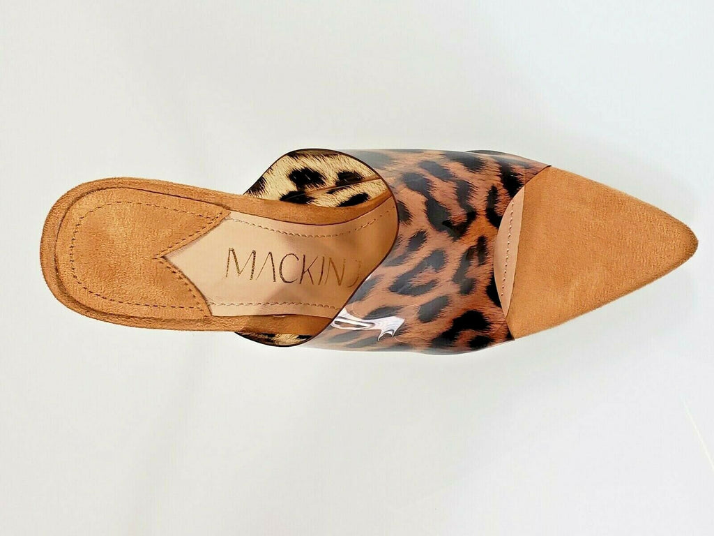 "Mac J  Transparent Leopard Tan Print Slip On Open Pointy Toe 4.5"" High Heel Shoe"
