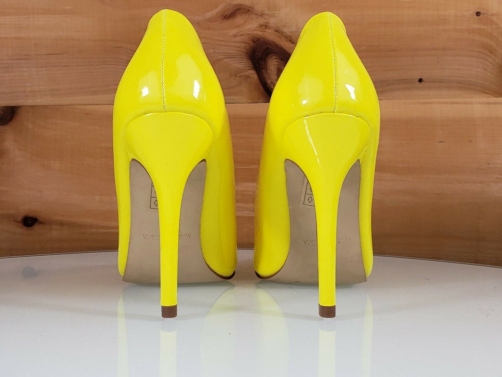 "Red Cherry Gigi Bright Yellow Patent Pointy Toe Pump Shoe 4"" Stiletto High Heels"