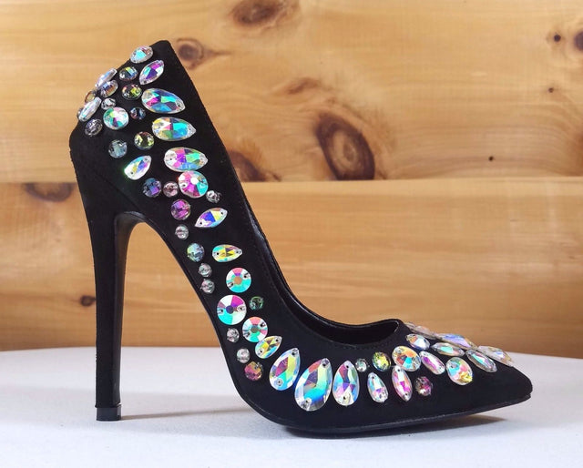 "Diva Black Multi Color Jewels Pointy Toe Stiletto Pumps - 4.5"" High Heel Shoes"