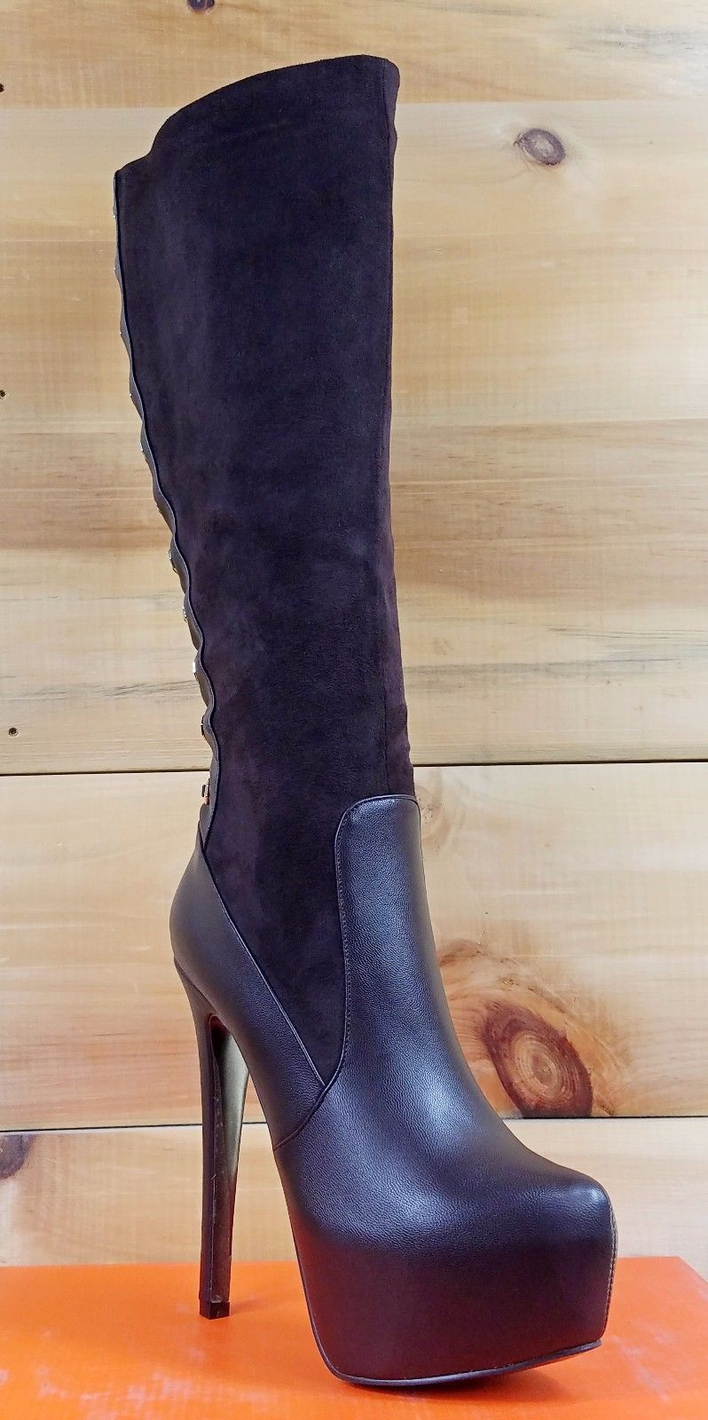 "Luichiny Ra Quelle Chocolate Brown 6"" Stiletto Heel Platform Knee Boot"