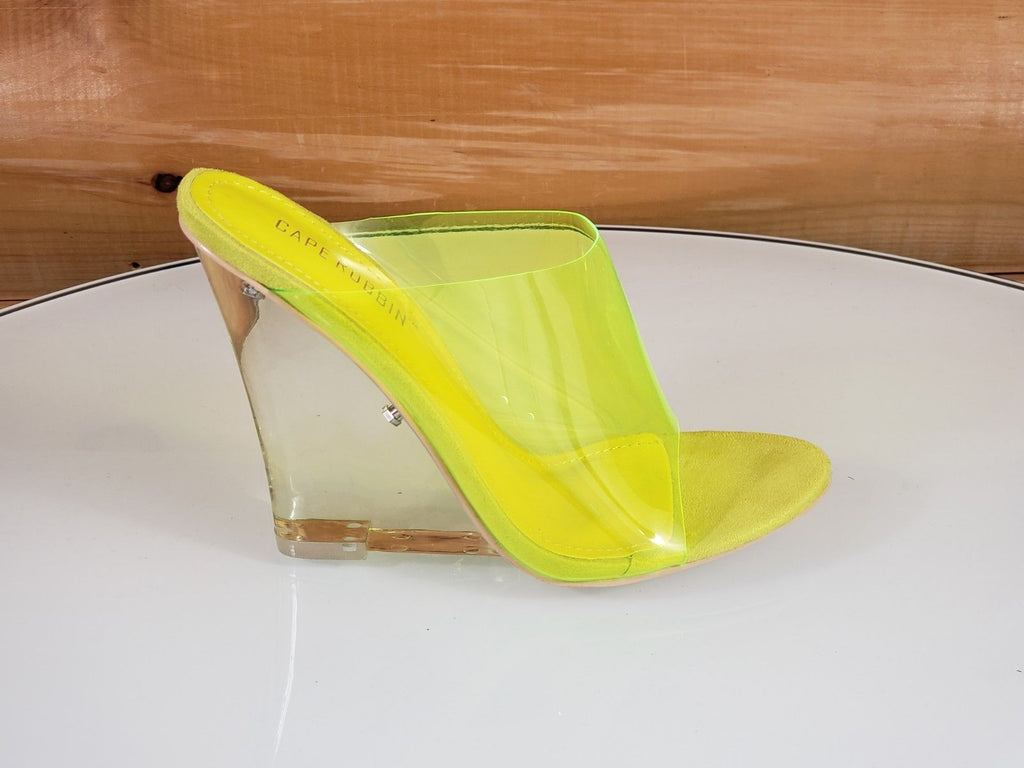 "CR Jelly Drop Clear Yellow Lucite 3.5"" High Heel Slip On Wedge Sandal"