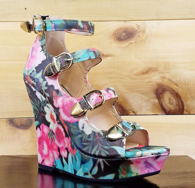 Mona Mia Emelian Multi Black Floral Open Front Strap Wedge Shoe