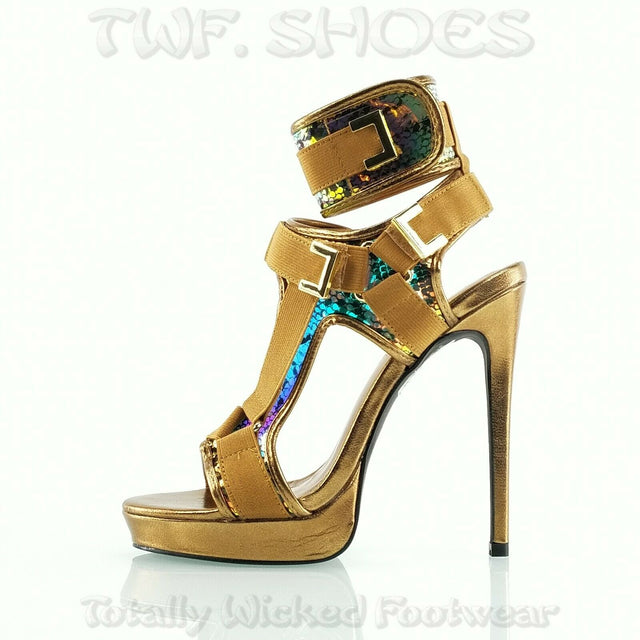 "Scorpio Bronze Snake Hologram Strap 5"" High Heel Harness Strap Shoe US 7-10"