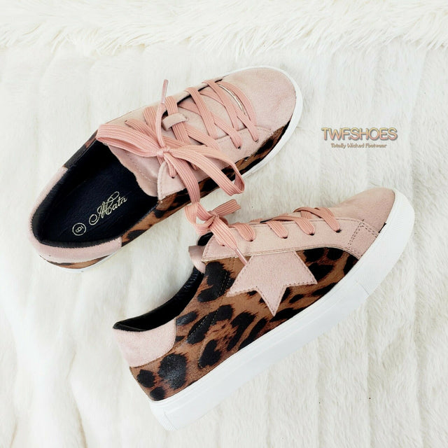 Woman's Leopard Print Fashion Sneakers Coco Rubber Sole 6-10 Blush