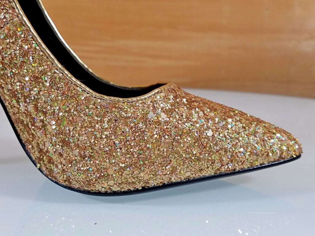 "CR Priscilla Gold Multi Glitter Pointy Toe Pump 4.5""  High Heel Shoes"