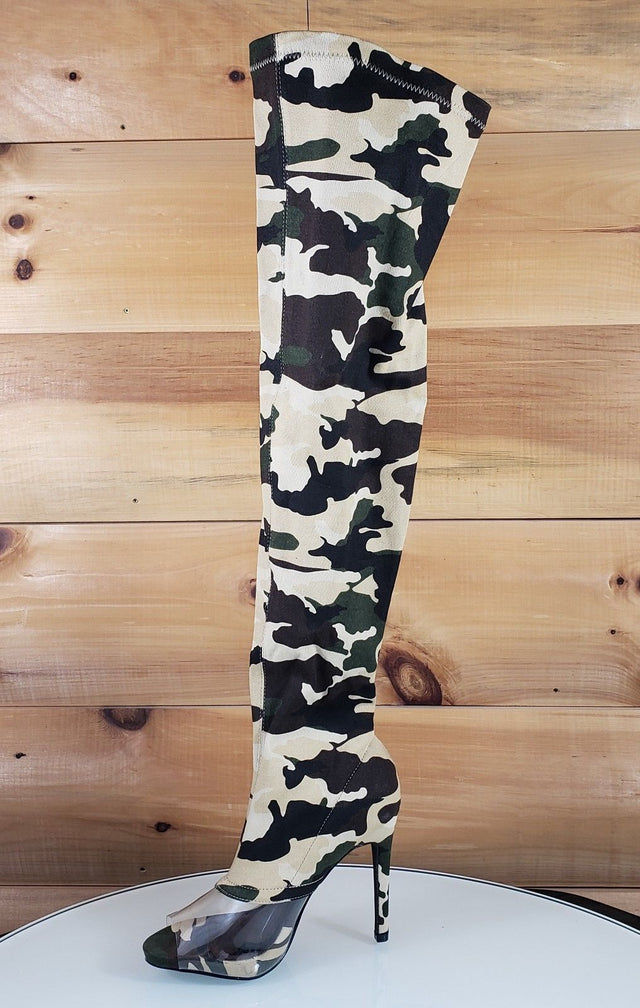 CR Lola Camo Print Stretch Stocking High Heel Thigh Boot Us Size 5.5-10