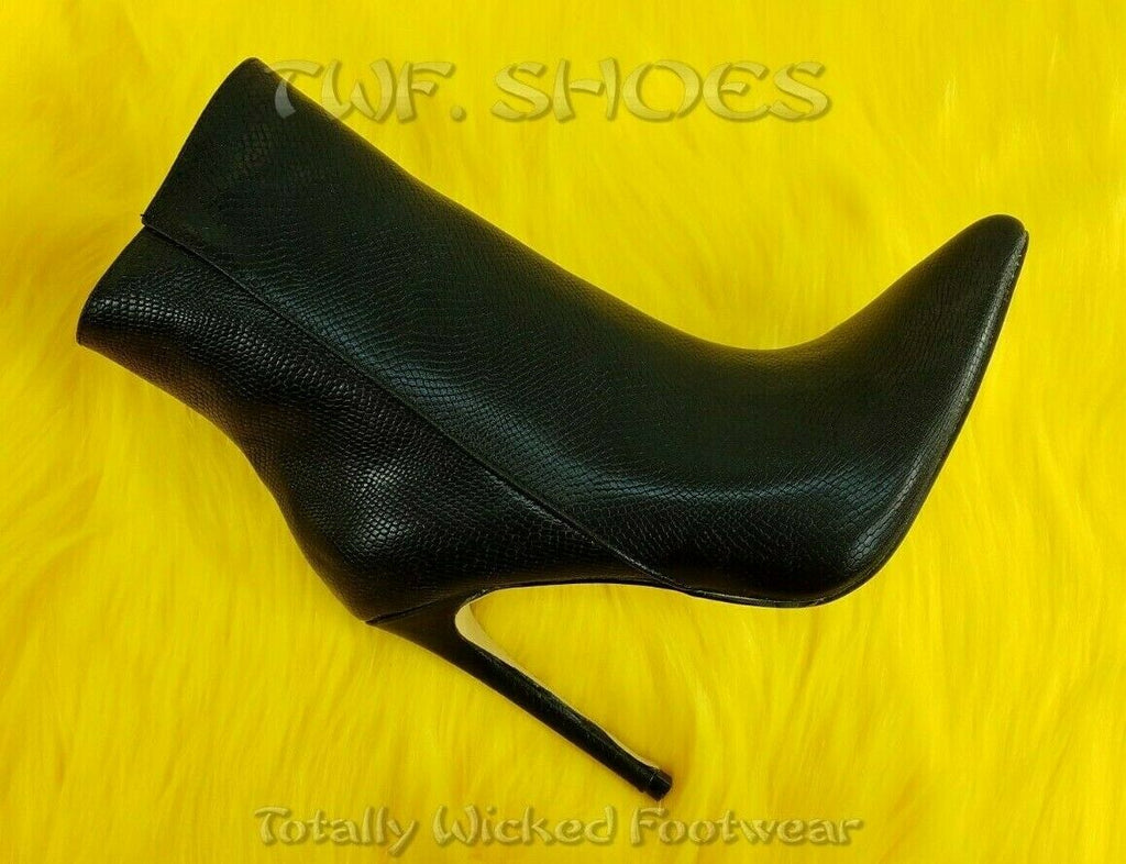 "Amanda Sexy Pointy Toe 4.5"" High Heel Black Snake Ankle Boots 7-11"
