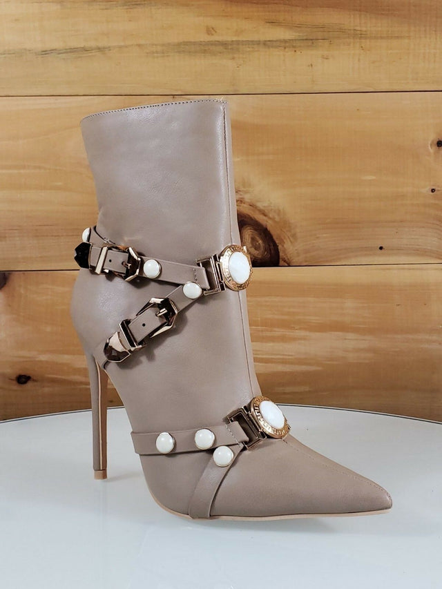 Mac J  Taupe Pointy Toe Gold Buckle Harness Strap High Heel Ankle Boot 7- 11
