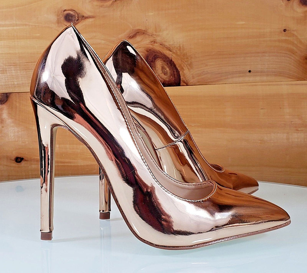 "CR Rose Gold Metallic Pointy Toe Pump Shoe 4.5"" Stiletto High Heels"