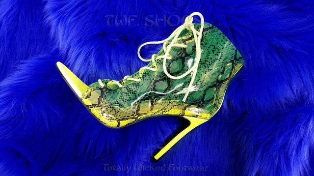 "CR JoJo Translucent Neon Yellow Lime Snake Print 4"" Heel Ankle Boots Size 6-11"