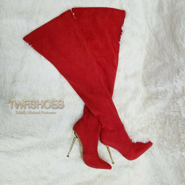 "CR Holden Red Stretch Faux Suede Wide Top 4.5"" High Heel Thigh High Boots"