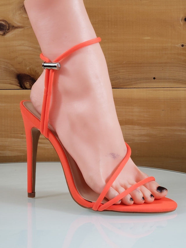 So Me Mora Flirty Open Toe  Asymmetrical Strap - High Heel Shoes Neon Orange