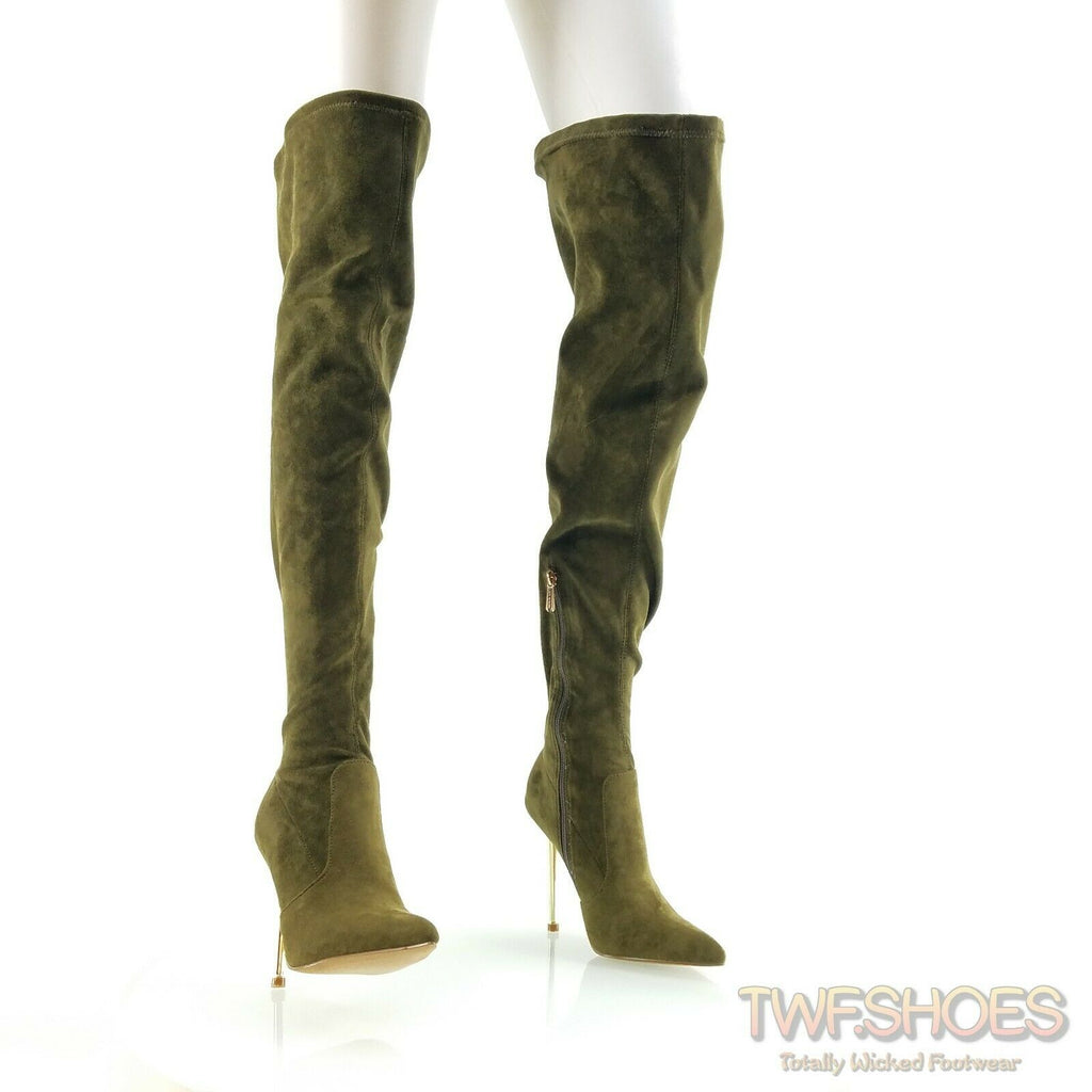 "CR Holden Olive Green Stretch Faux Suede Wide Top 4.5"" Heel Thigh High Boots"