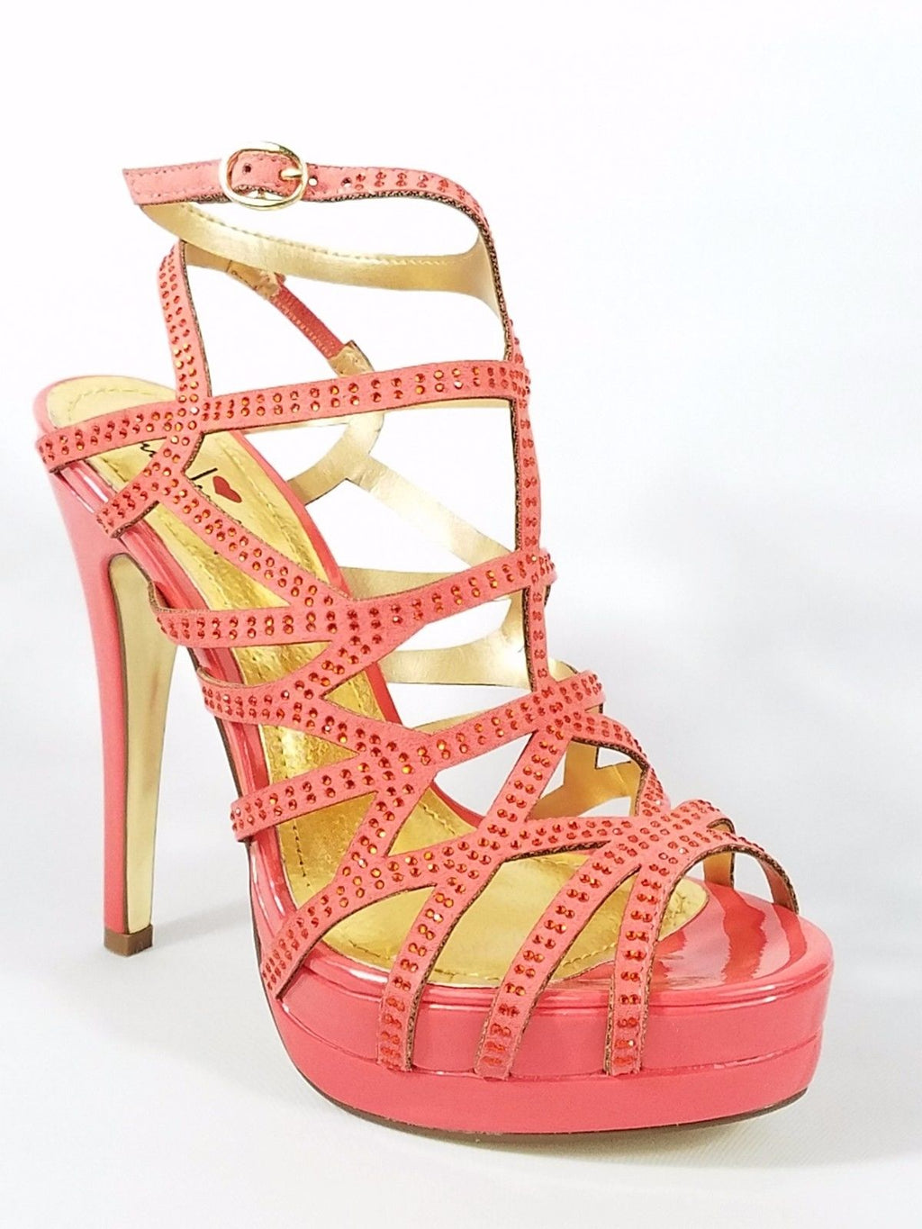 Luichiny Slingback Cut Out Rhinestone Strap Platform Sandal Shoe 7 -11 Coral Red