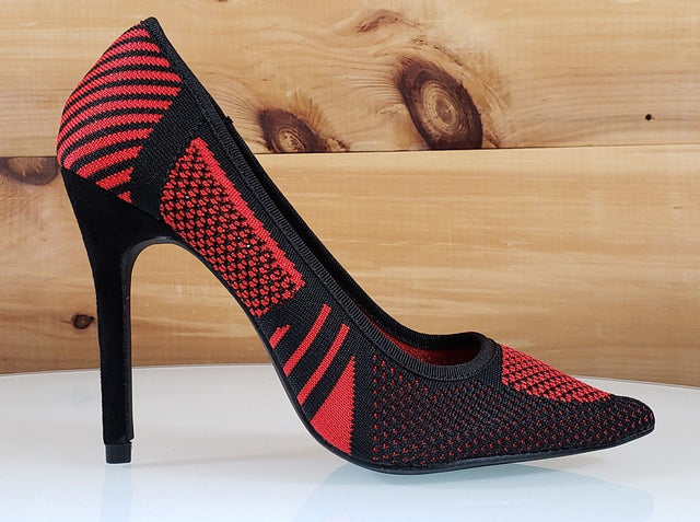 "CR Kitana Black & Red Contrast Knit Pointy Toe Pump 4.25""  High Heel Shoes"